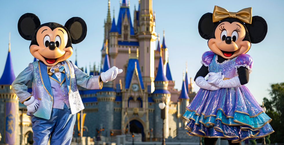 Mickey and Minnie receive a new look for the park's 50th anniversary