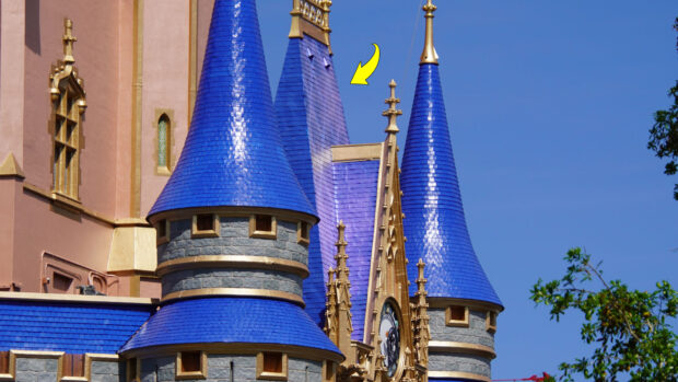Royal blue painting is nearly complete on the Cinderella Castle rooftops.