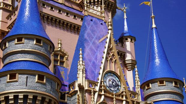 Cinderella Castle rooftop painting is underway.