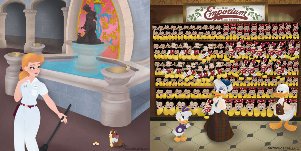 Cinderella, Daisy and Donald Duck working at the Magic Kingdom as cast members.