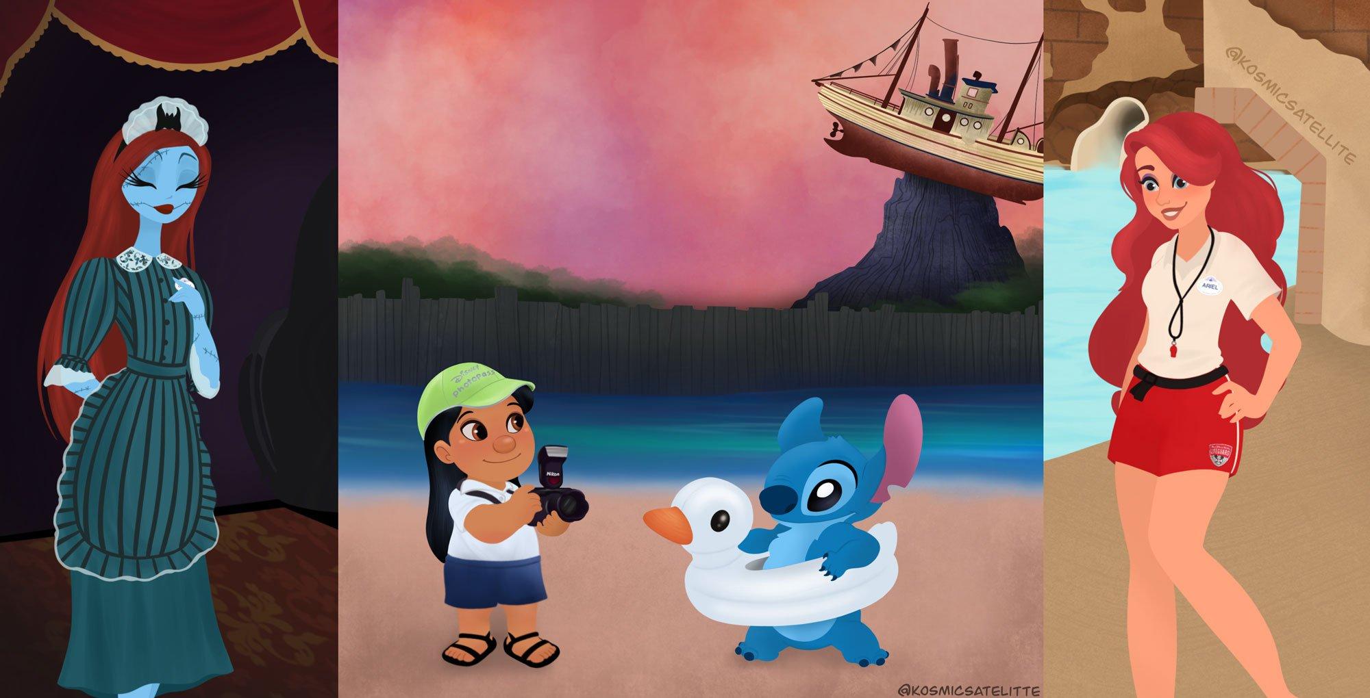Disney characters as Cast Members at Walt Disney World.