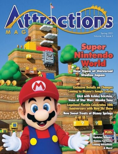 Spring 2021 issue of Attractions Magazine featuring Super Nintendo World and Super Mario.