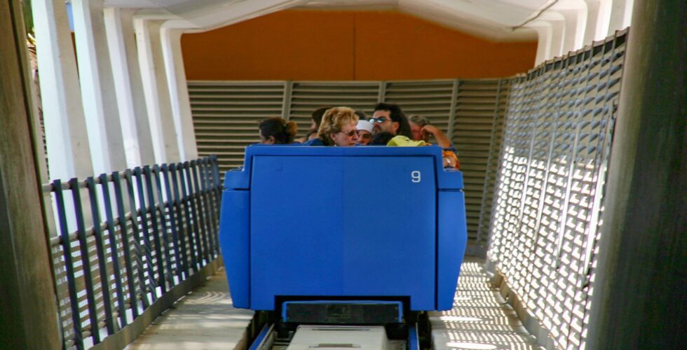 The PeopleMover attraction takes guests on a 10-minute tour over Tomorrowland.
