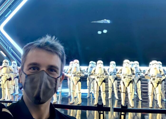 Zach Riddley inside the Star Destroyer show building at Star Wars: Rise of the Resistance.