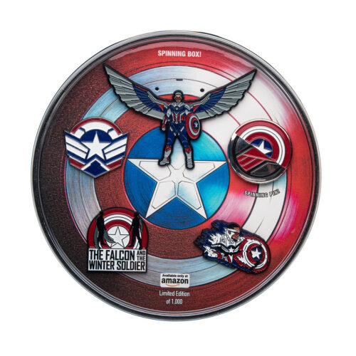 """Amazon's exclusive limited edition """"The Falcon and The Winter Soldier"""" pins."""