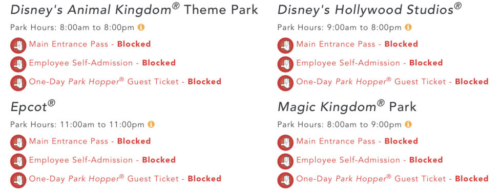 Florida-based Disney Parks currently blocked from cast member admission.