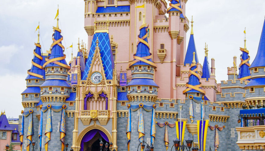 """Cinderella Castle """"ear-idescent"""" bunting, gemstones and ribbons."""