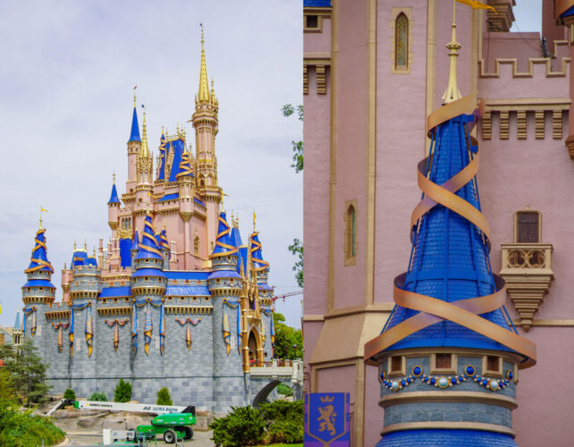 """Cinderella Castle adds on new """"ear-idescent"""" 50th anniversary decorations."""
