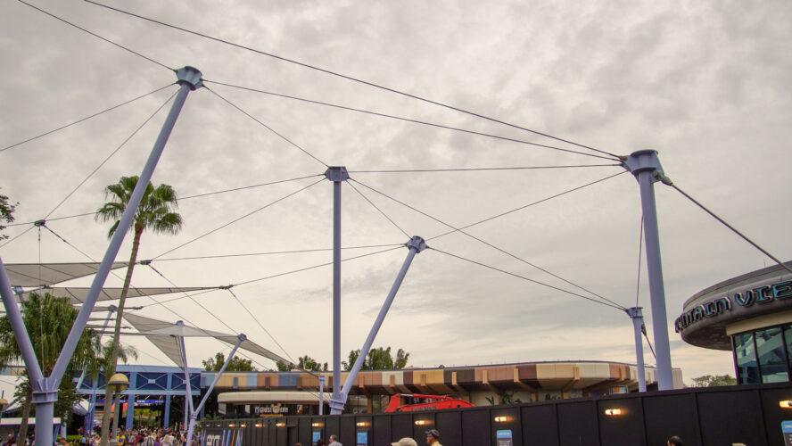 Sunshades being taken down at Future World in 2019.