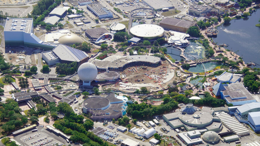 Current work and demolition ongoing at Epcot for its new revamp and look.