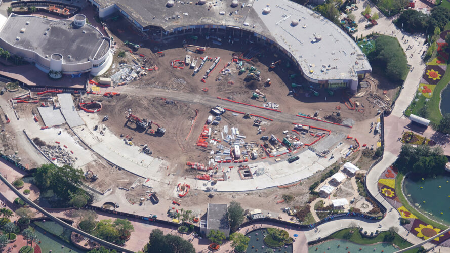 Demolition of the center of Future World at Epcot.