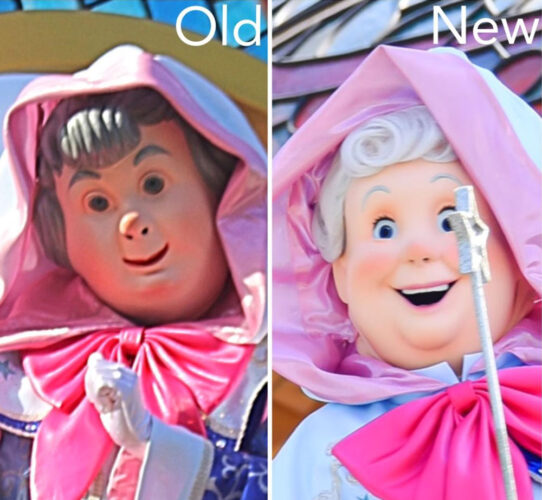 A comparison view of the Fairy Godmother design at Tokyo Disneyland.