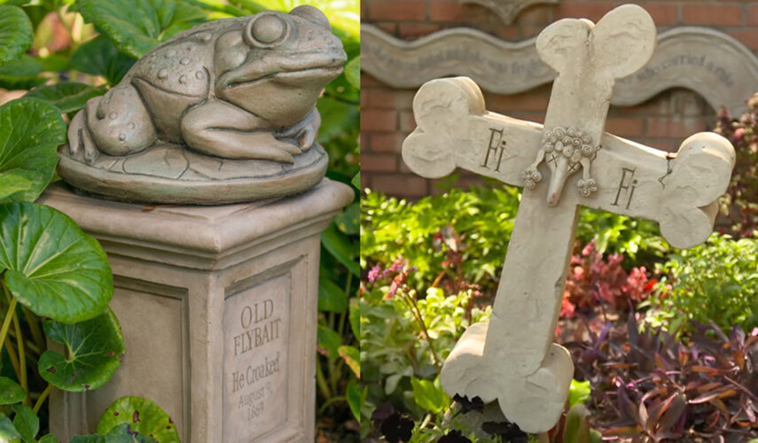 """New """"tails of tragedy"""" tombstones at the Haunted Mansion in Disneyland Park."""