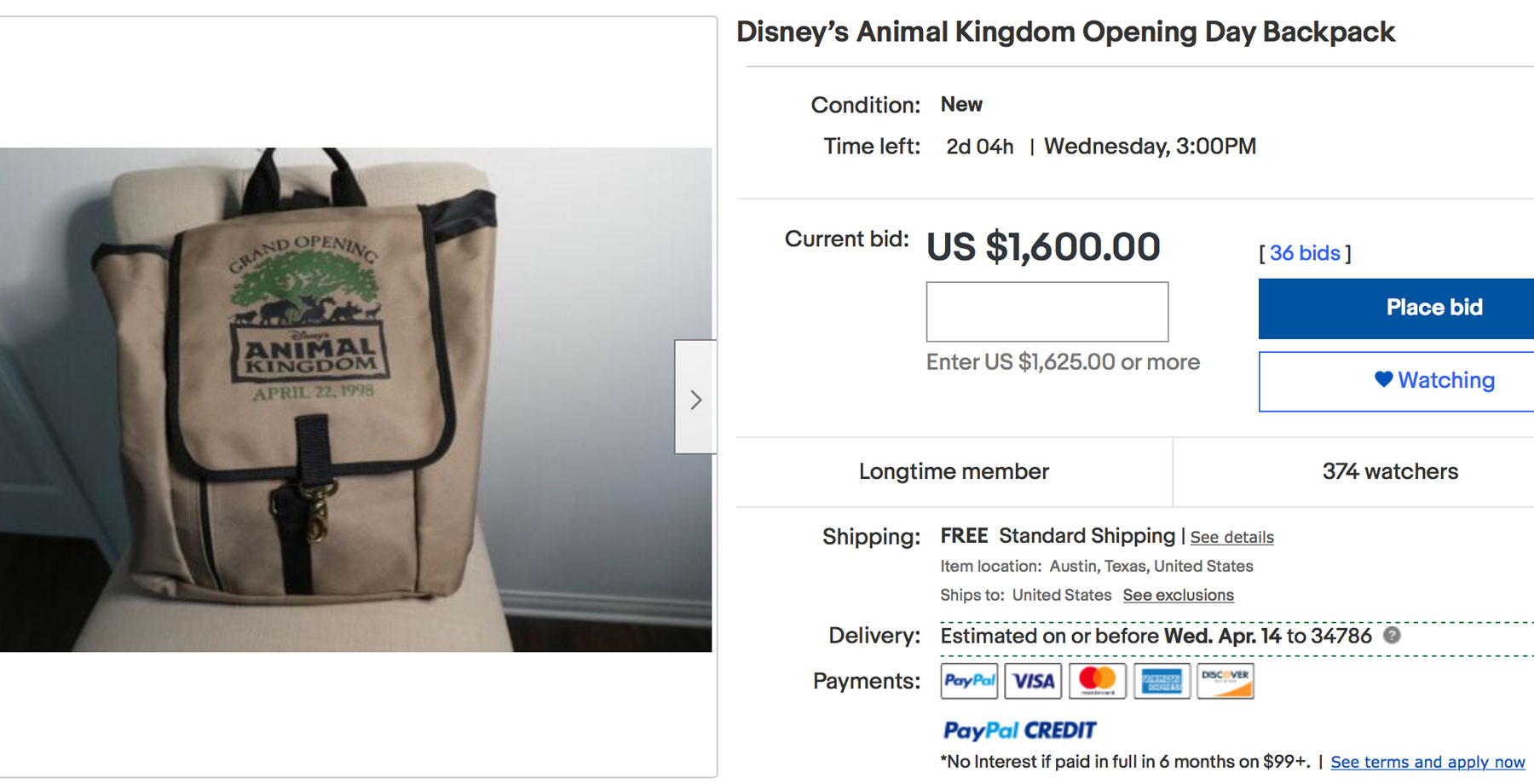 Ebay listing for one of Joe Rohde's high value items from his career.