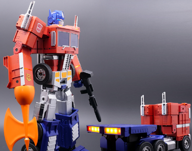 Optimus Prime robot transforms into vehicle