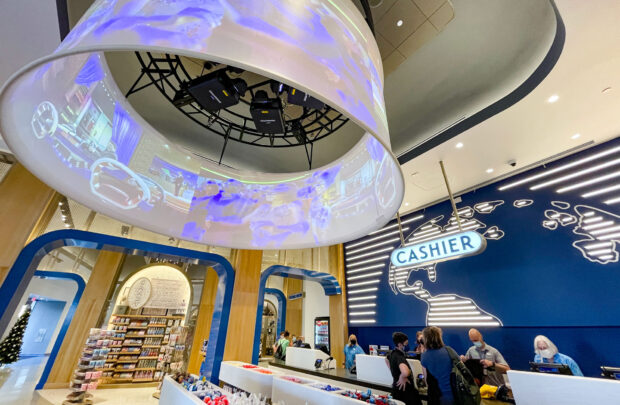 The Universal Studios Store registers and 360 projection screen.