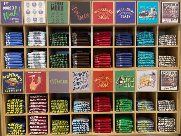 T-shirt wall at the Universal Studios Store.