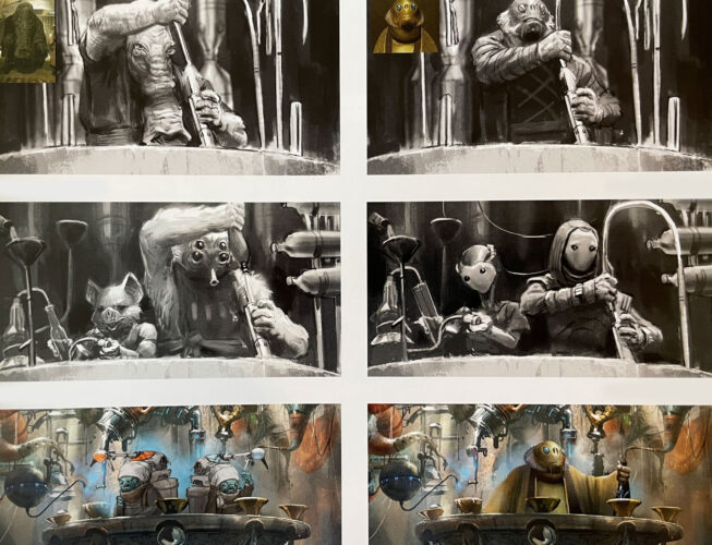 Bartender character concepts for Star Wars: Galaxy's Edge.