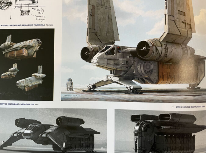 Docking Bay 7 space ship concepts for Star Wars Galaxy's Edge.