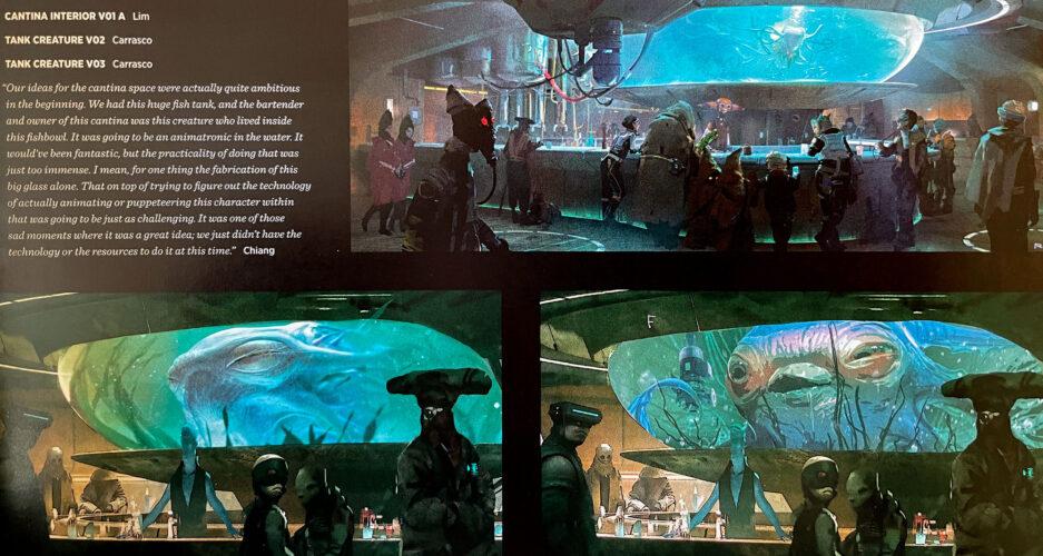 Large aquarium and fish centerpiece concept art for Oga's Cantina.