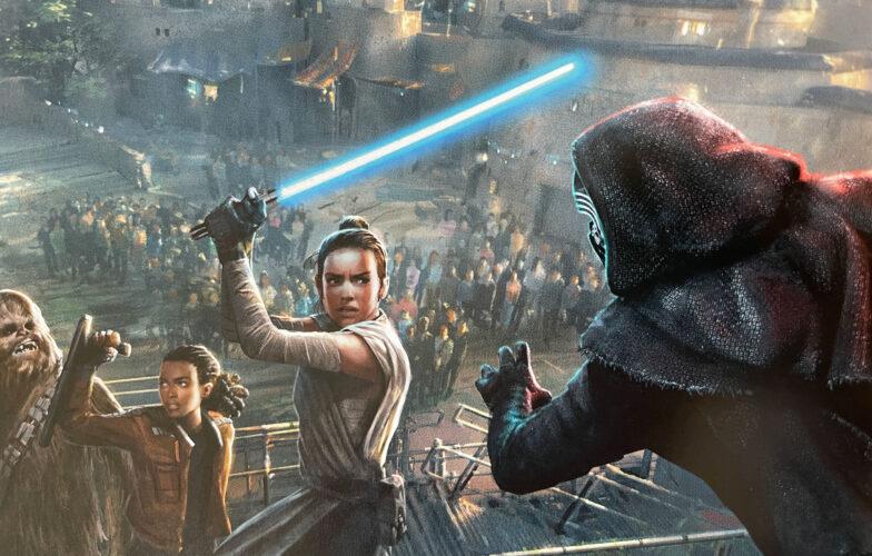 Rey, Kylo Ren, Chewbacca and Vi Moradi stunt show concept for Star Wars Galaxy's Edge.