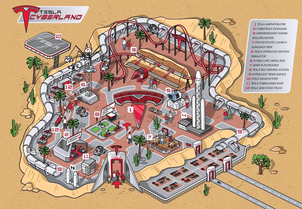 tesla cyberLand theme park map