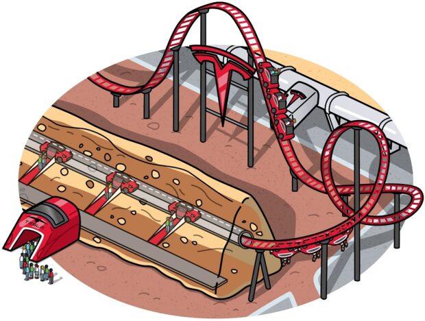 Tesla CyberLand underground tunnel roller coaster