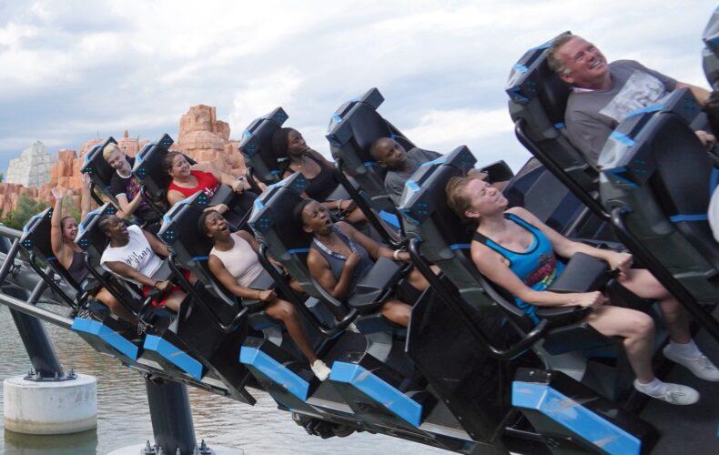 scare riders on VelociCoaster