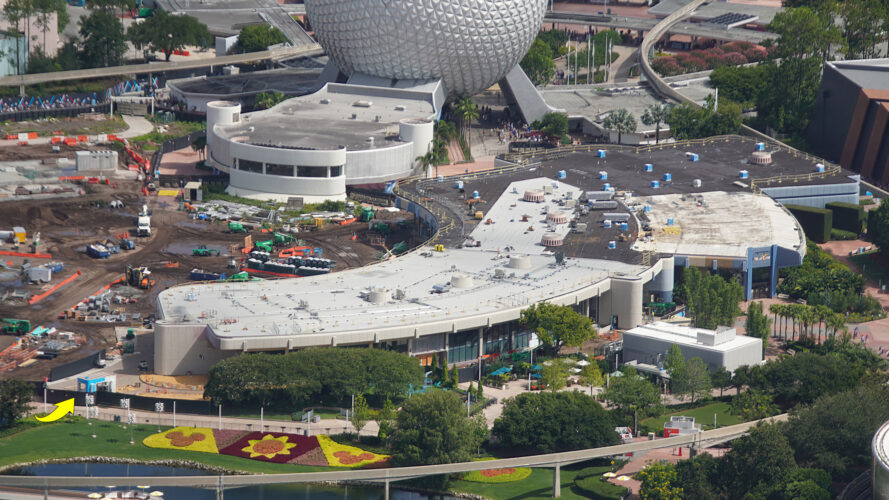 Overview of construction on former Innoventions West and MouseGear building.
