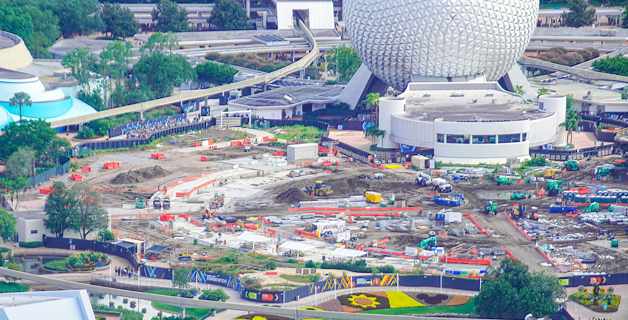 Bioreconstruct overview of Epcot future world and world celebration construction.