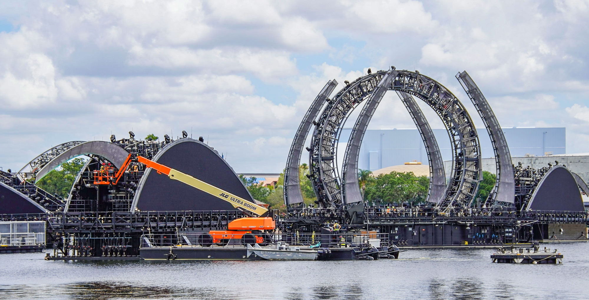 Epcot Harmonious Barges getting aligned for an eventual showing.