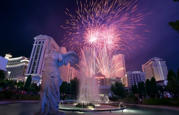 Las Vegas fireworks over casino