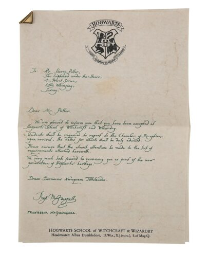 Prop Store Auction - Hogwarts Letter