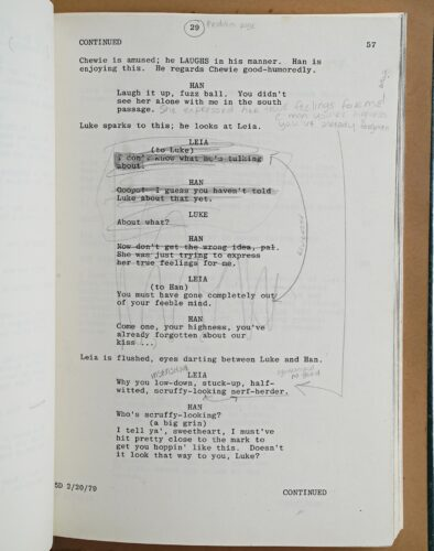 Prop Store Auction - Carrie Fisher script