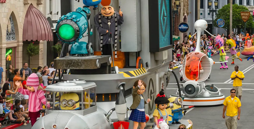 Favorite characters from the Minion franchise wave hello in Universal's Superstar Parade.