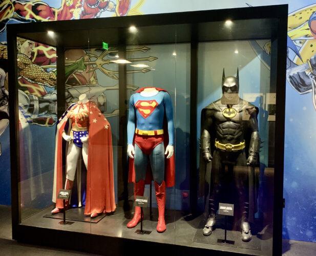 Wonder Woman, Superman, and Batman costumes