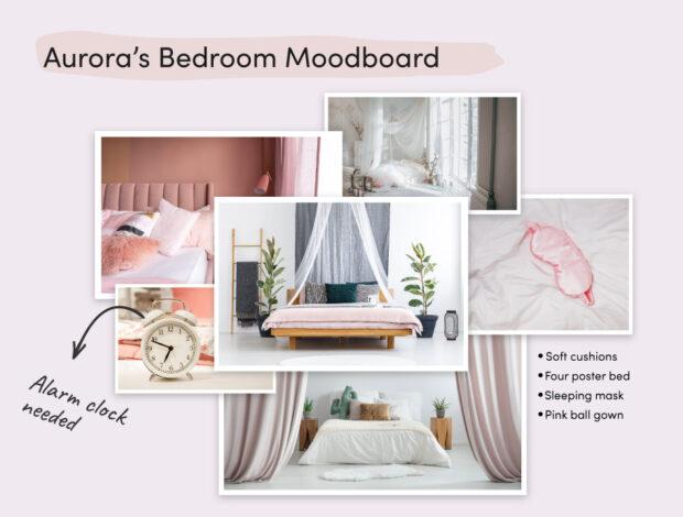 Disney Princesses Home Makeover Aurora moodboard