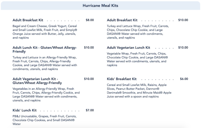 hurricane meal kits