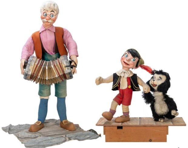 Disney Auction - Pinocchio window display figures