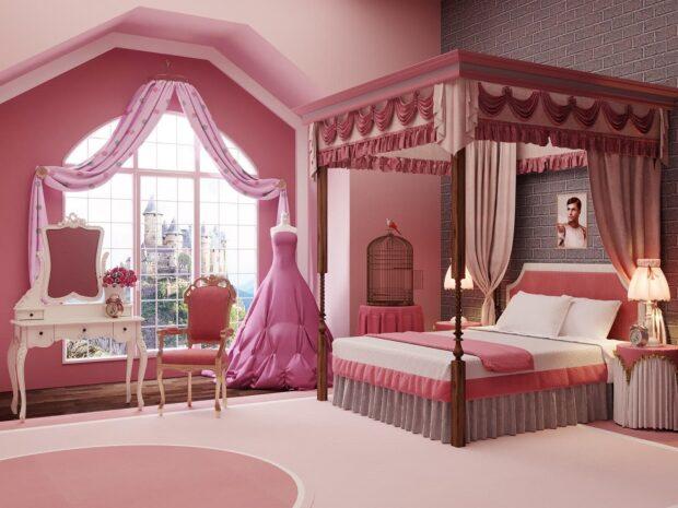 A beautiful royal bedroom for Princess Aurora