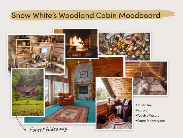 Snow White's rustic cabin moodboard