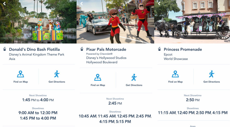 Character cavalcade showtimes at Epcot, Hollywood Studios, and Animal Kingdom showcased on the My Disney Experience app.