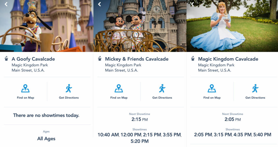 Disney releases the cavalcade showtimes on the My Disney Experience app.