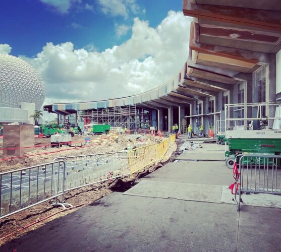 Zach Riddley photo from Instagram of Epcot construction.
