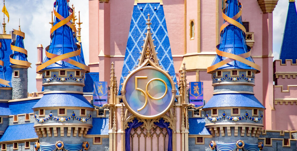 Cinderella Castle 50th anniversary look, with new anniversary crest.