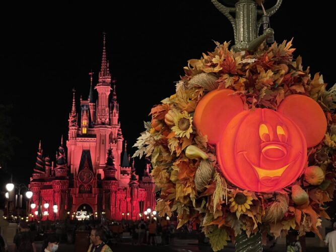 Cinderella Castle and a Mickey pumpkin during Boo Bash.