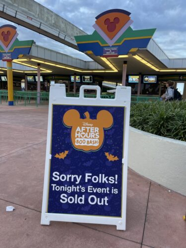 Boo Bash sold out sign