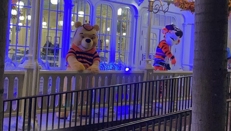 Winnie the Pooh and Tigger in costume at Boo Bash.