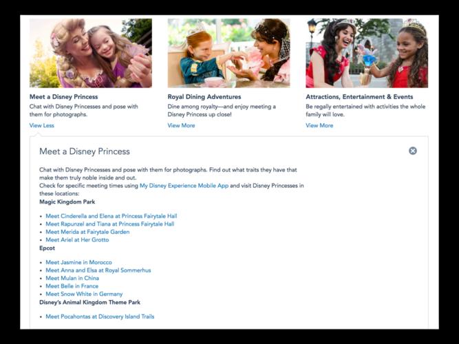 Walt Disney World princess entertainment website.