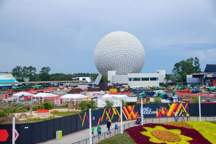 Spaceship Earth stands tall over the remnants of Future World.